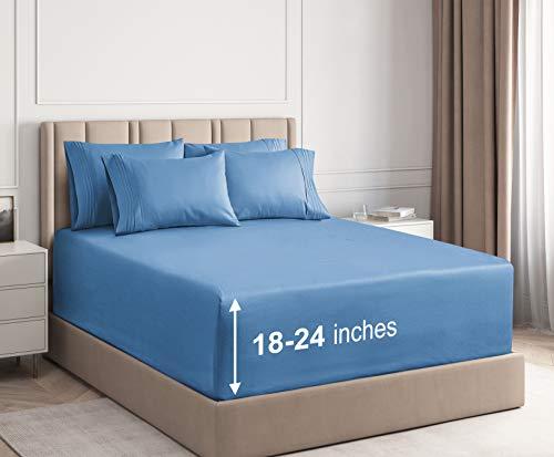 CGK Unlimited Extra tiefe Tascheneinlagen, 53,3 cm tiefe Taschen California King denim-blau