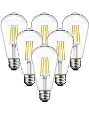 6x 4W Bombillas Vintage Edison LED E27, Bombillas con Filamento Casquillo Gordo, Equivalente a 40W con 470 Lúmenes, 2700K Blanco Cálido, ST64 Bombilla Retro Decorativa - ANWIO.