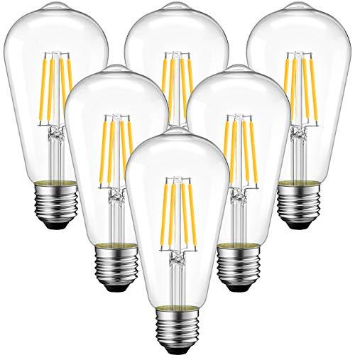 ANWIO 6,5 W LED Edison Vintage Glühbirne Retro LED Edison Glühlampe E27 60W, warmweiß 2700 K, Vintage Retro-Lampe 806LM, nicht dimmbar (6er Pack)