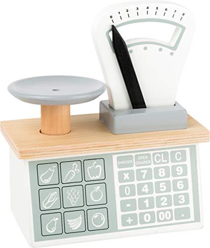 Small Foot 11201 Holzwaage,mit Waagschale und beweglichem Gewichts-Zeiger, Umgang mit Zahlen & Gewichten, für Kaufläden Spielzeug, Mehrfarbig