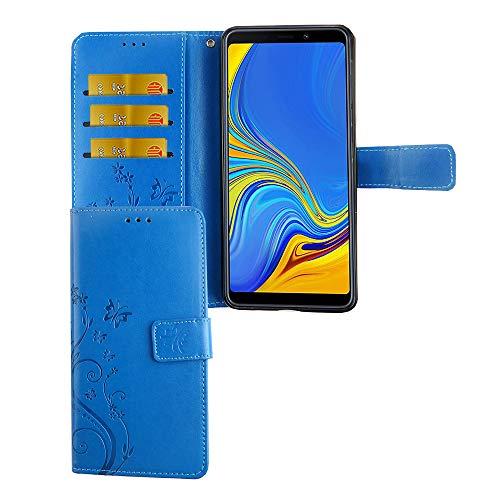 König Design Handy-Hülle Kompatibel mit Samsung Galaxy A7 2018 Tasche Hülle Cover Wallet Kunstleder Blau