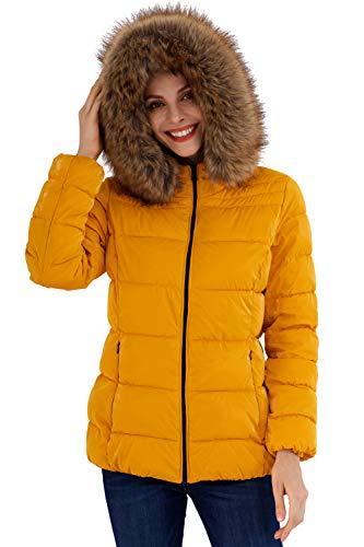 BELLIVERA Abrigo acolchado ultraligero para mujer, chaqueta metálica brillante con cuello de piel desmontable Abrigo abrigado Amarillo M