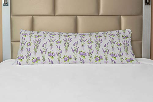 Ambesonne Garden Art Body Pillow Case Cover with Zipper, Botanical Bouquets of Lavender and Hydrangea Flowers Bridal Spring, Decorative Accent Long Pillowcase, 21' x 54', Grey