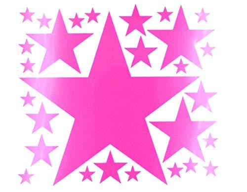 Bügelbild, Motiv: Sterne, Farbe: neonpink, Setgröße: maxi, heißsiegelfähige Flockfolie auf Basis von Viskosefasern