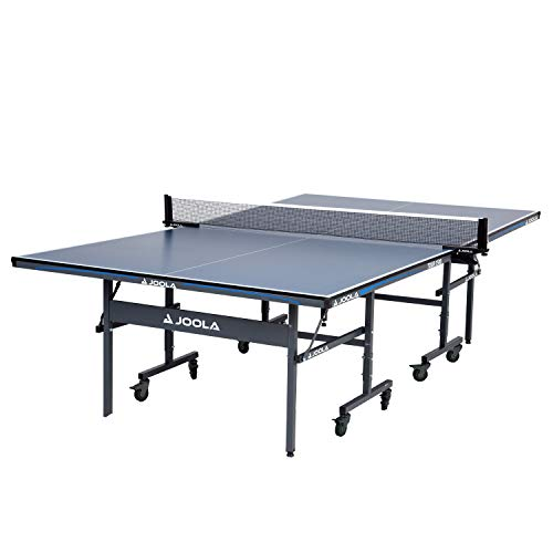 JOOLA Tour - Competition Grade MDF Indoor Table Tennis Table with Quick Clamp Ping Pong Net Set - 10 Minutes Easy Assembly - USATT Approved - Ping Pong Table with Single Player Playback Mode, 15mm