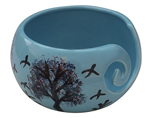 """Deal of the Day - 7"""" Family Tree with Birds Ceramic Yarn Bowl Knitting Bowl, Crochet for Moms - Beautiful Gift on all Occasions Moms, Dads and Grandmothers"""