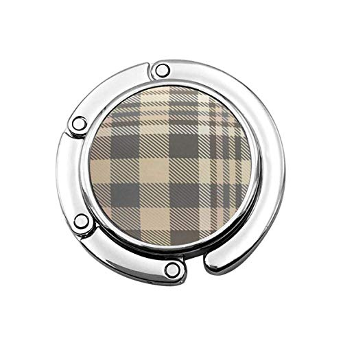 Folding Handbag Hanger Purse Hook,Tan Border Tartan Plaid Pattern in Shades of Cream Beige Brown and Grey Gray Check