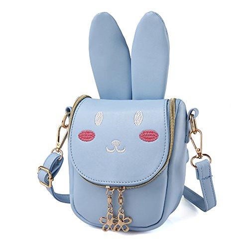 Pinky Family Super Cute Girls Purse Bunny Ear Shoulder Bag Messenger Bag Girls Gifts (pattern 1 blue)