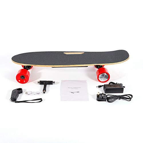 Sujrtuj 350 W 20 km/h Skateboard Elettrico Longboard E Skateboard City Scooter Elettrico con Telecomando Manuale Motore Singolo