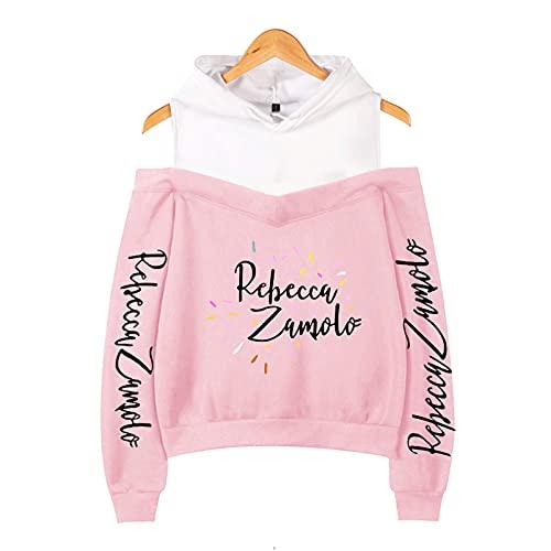 CCEE Odzież damska babeczka Zamfam Merch Logo Rebecca Zamolo Off Shoulder Bluza z kapturem Kpop moda seksowna damska bluza różowy L