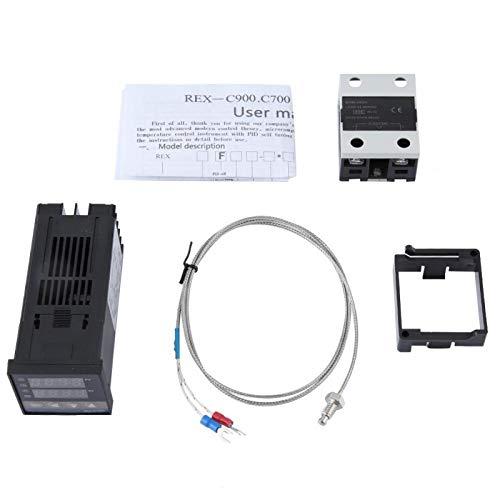 Controlador de temperatura-AC 110-240V PID Kits de controlador de temperatura 0-400 ℃ + 40A SSR + 1M M6 K Tipo de sonda