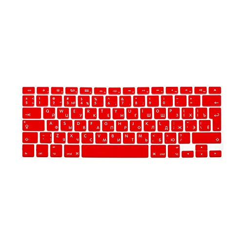 Laptop Keyboard Protective Film Waterproof For MacBook Pro air 13'15' Russian EU Notebook Keyboard Cover Dustproof Film Silicone-Red-