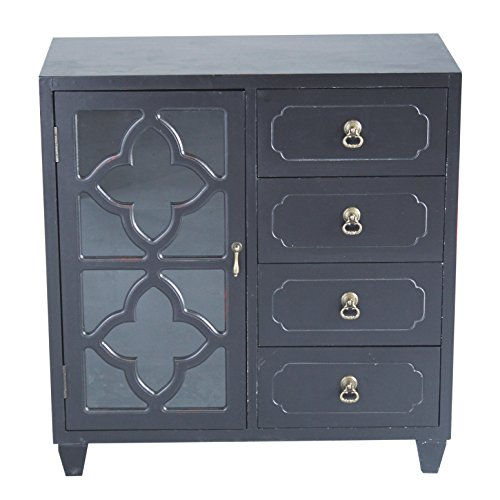 "Heather Ann Creations 4 Drawer Wooden Accent Chest and Cabinet, Clover Pattern Grille with Glass Backing, 30.75""H x 29.5""W, Black"