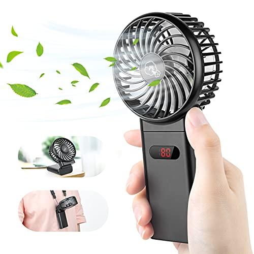 Ventilador de Mano – 4000mAh USB Ventilador Portátil 4-15 Horas, Recargable Mini Ventilador de Mano 4 velocidades