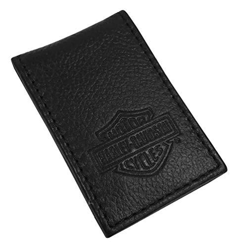 Harley-Davidson Men's B&S Embossed Leather Magnetic Money Clip MSB8385-BLACK