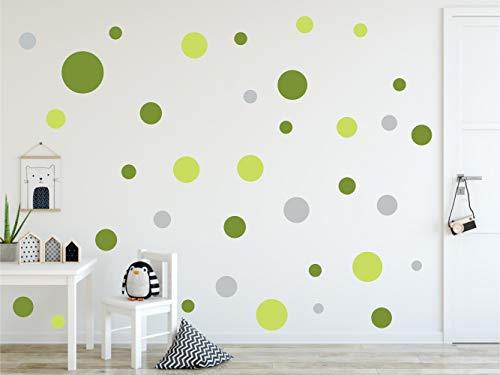 Timalo® 60 Stück Wandtattoo Kinderzimmer bunte große Kreise Pastell Wandsticker – XL Aufkleber Punkte | 73080-SET11-60