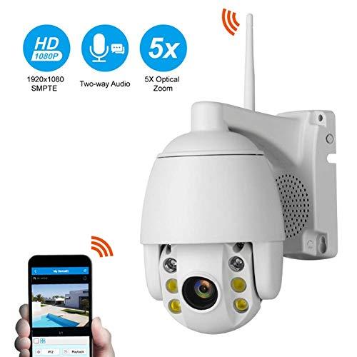 Überwachungskamera 5 x Zoom Zwei-Wege-Gegensprechanlage HD 2 MP wasserdicht WiFi Remote Dome Kamera für Innen- und Außenbereich Home Security L 16GB