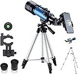 Hesolo Telescopio de National Geographic, Lente Totalmente recubierta, telescopio Refractor de astronomía portátil con trípode, Adaptador de teléfono