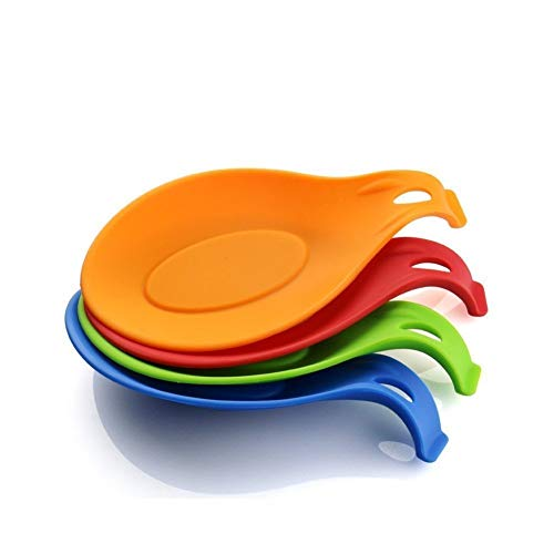 iNeibo Kitchen Silicone Spoon Rest, Flexible Almond-Shaped, Silicone Kitchen Utensil Rest Ladle Spoon Holder (Colorful Big)
