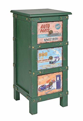 ts-ideen Kommode Nachttisch Schlafzimmer Bad Regal Wohnzimmer Schrank Regal Container Industrie Design Shabby Vintage in Grün 63 x 30 cm