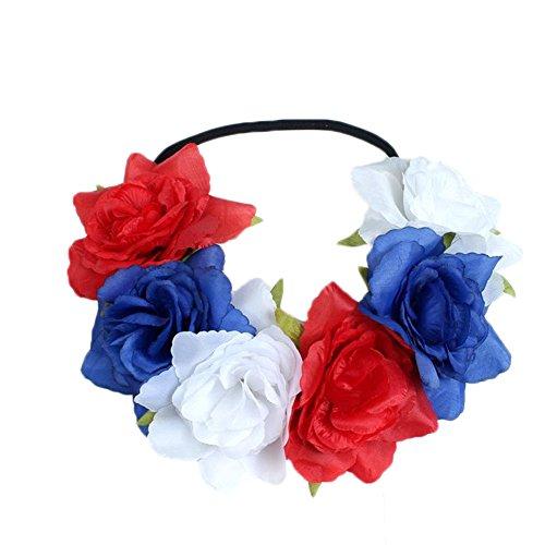 Spaufu - corona de flor, tipo guirnalda, banda para Cabello, Elástica, extensible, de decoración, accesorio para mujer, niña, boda, fiesta, cumpleaños, fotografía