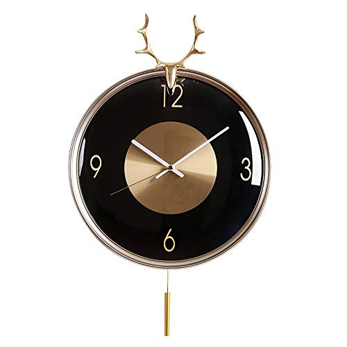 L.J.JZDY Wandklok voor de woonkamer, slaapkamer, kunst, rond, zwart, gouden staven, stille stokken, tikt niet, wandklok met slinger 33 x 51 cm