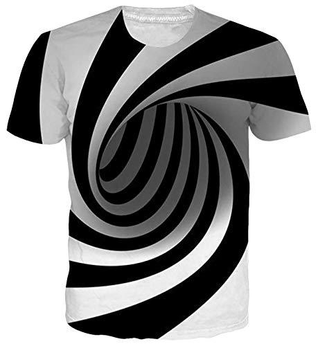 SunFocus Herren Swirl T-Shirt 3D Lustige Kurzarm Atmungsaktive Casual Crew Neck Personalisierte T-Shirt Tops für den täglichen Gebrauch M