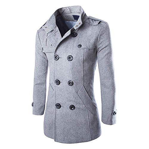 Hombres Oto?o Invierno Doble Fila Bot¨®n Abrigo Top Blusa Chaqueta Hombres Jacket...