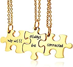 Mealguet Jewelry Gold Plated Stainless Steel Three Puzzle BFF Best Friend We Will Always be Connected Friendship Necklace Set for 3