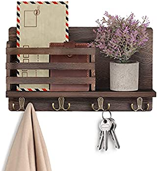 LIBWYS Wall Mounted Mail Holder with 4 Double Key Hooks