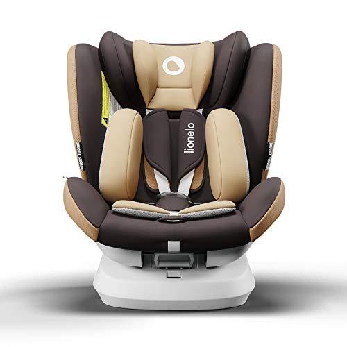 Lionelo Bastiaan One silla de coche bebe desde el nacimiento hasta los 36 kg giratoria a 360 grados Isofix Top Tether cinturón de seguridad de 5-puntos (Marrón)