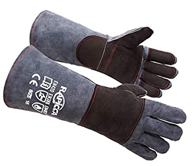 RAPICCA Animal Handling Gloves Bite Proof Kevlar Reinforced Leather Padding Dog,Cat Scratch,Bird Handling Falcon Gloves Grabbing,Reptile Squirrel Snake Bite 16in