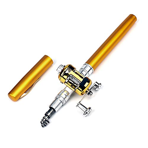 Finoki Angelrute, Mini Tragbare Angelrute aus Aluminiumlegierung, Teleskop Angelrute Set
