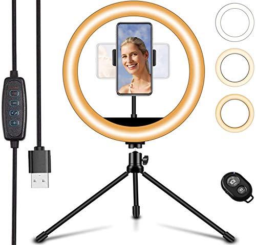 Anillo de luz LED de 25,4 cm con soporte para trípode y 3 soporte para teléfono, luz de anillo de maquillaje de escritorio regulable, ideal para transmisión en vivo, TikTok, YouTube Video, fotografía