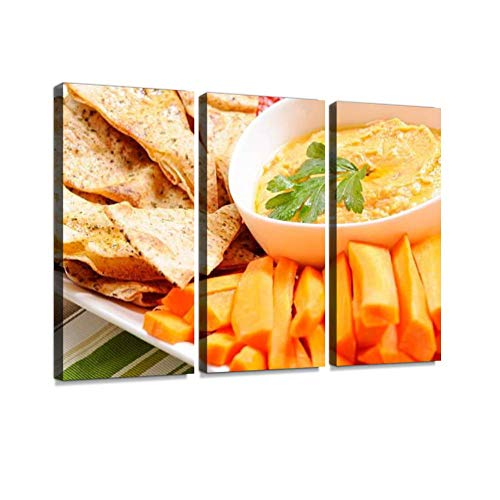 YKing1 Clean Eating Series pita Chips and red Pepper Hummus red pepperss Wall Art Painting Pictures Print On Canvas Stretched & Framed Artworks Modern Hanging Posters Home Decor 3PANEL