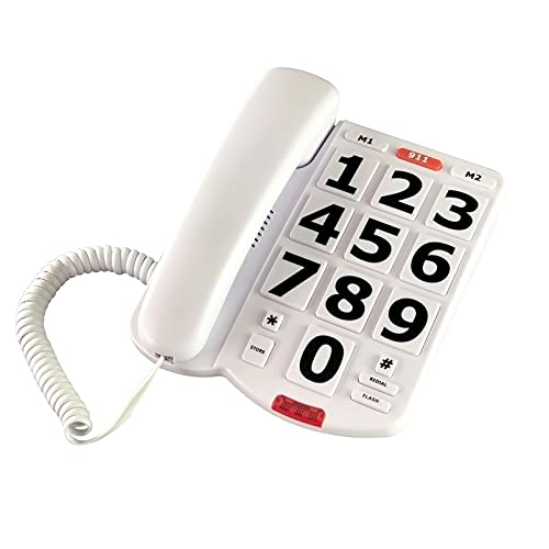 TelPal Corded Big Button Phone for Seniors Home, Wired Simple Basic Landline Telephone for Visually Impaired Old People with Large Easy Buttons, Emergency House Phones