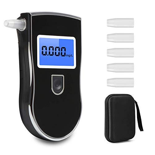 Colisal Alkoholtester Polizeigenau, Akkurater Promilletester mit Digitaler LCD, Atemalkoholtester mit Halbleiter Sensor, Tragbar Alkohol Test mit 5 Mundstücke und 1 Stofftasche