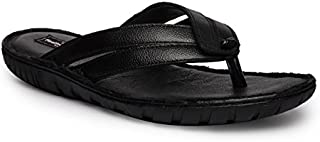 Genuine Leather Black Casual Slippers 007