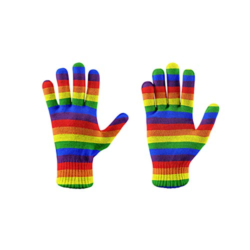 NHFVIRE Fashion Warm Rainbow Glove Women's Winter Autumn Gloves Used for Mobile Phone Screens 3D Printed Soft Elastic Mittens style5