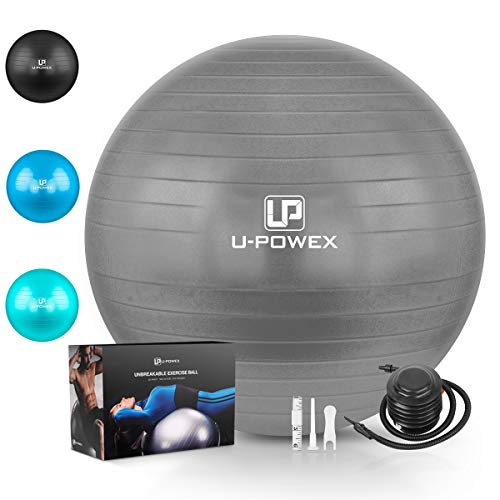 U-POWEX Professional Exercise Ball (45-85cm) - Professional Grade & Anti Burst Exercise Equipment for Home, Gym, Yoga, Balance, Fitness, Core, Desk Chairs - Quick Hand Pump & Workout Guide Gray 55