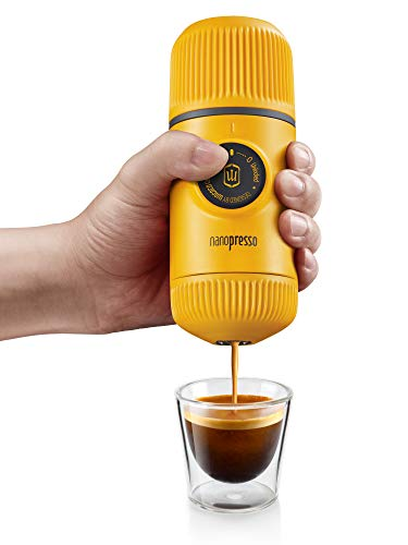 Wacaco Nanopresso Portable Espresso Maker, Upgrade Version of Minipresso, 18 Bar Pressure, Yellow Patrol Edition, Extra Small Travel Coffee Maker, Manually Operated. Perfect for Kitchen and Office