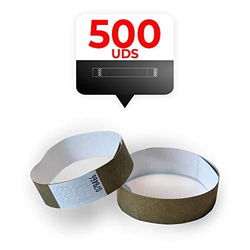 MP - Tyvek Pulseras 500 unidades para Eventos, Color Dorado