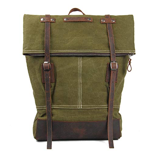 XMYNB Zaino In Tela Vintage Moda British Academy Style School Bag Verde Militare 36 * 9 * 43Cm