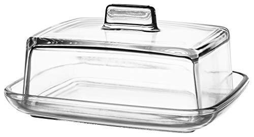 KADAX Butterdose aus Glas, rechteckige Butterglocke, Klassische Butterschale mit Deckel, Butterbehälter, Butterschatz, Spülmaschinenfest (Transparent)