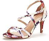 DREAM PAIRS Women's Gigi Floral Fashion Stilettos Open Toe Pump Heeled Sandals Size 7.5 B(M) US