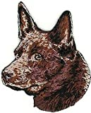 VirVenture 2' x 2 1/2' Red Australian Kelpie Portrait Dog Breed Embroidery Patch Great for Hats, Backpacks, and Jackets.
