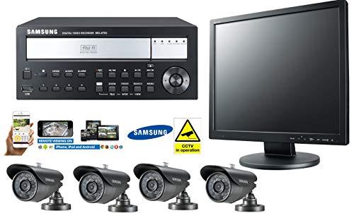 Samsung - Kit CCTV de 4 Canales con Copia de Seguridad en DVD, cámaras Bullet CCTV...