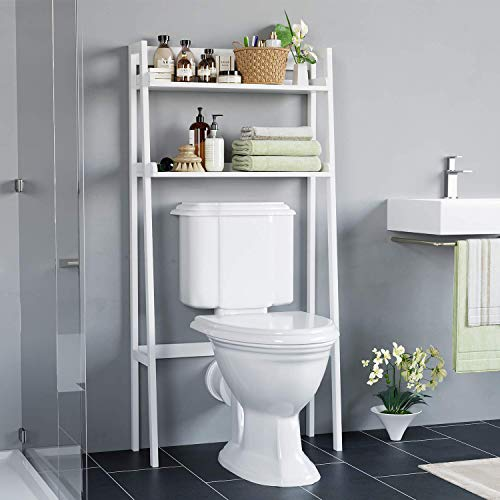 HOMECHO Bathroom Over Toilet Storage Shelf 2-Tier Toilet Tower Holder Space Save Freestanding Rack, White Finish