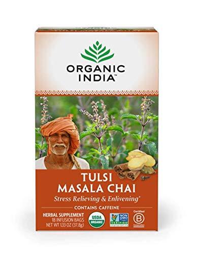 ORGANIC INDIA Tulsi Chai Masala Tea, Immune Support, Organic, Non-GMO, and Fair Trade (6 Pack)