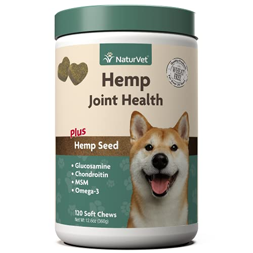 NaturVet – Hemp Joint Health for Dogs - Plus Hemp Seed – Supports Overall Joint Health – Enhanced with Glucosamine  MSM  Chondroitin & Antioxidants – 120 Soft Chews